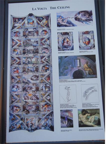 미켈란젤로의 시스티나 에배당 천정화 설명판.jpg